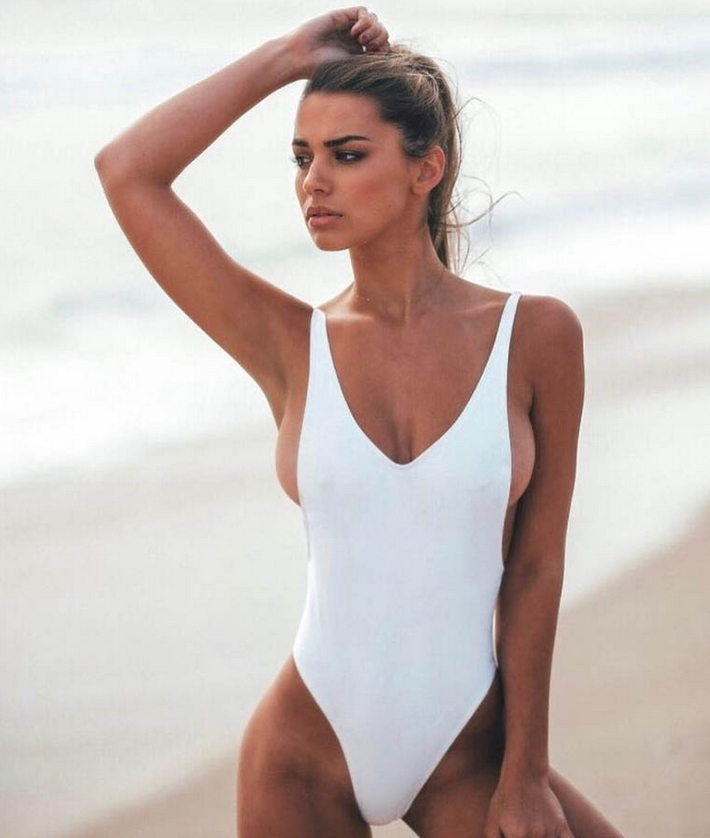 hot girl in white bikini